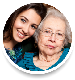 caregiver and elder smiling